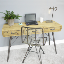 Modern Iron & Wood Office Desk in Situ
