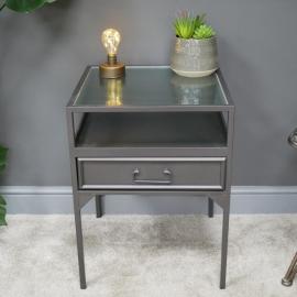 Modern Metal & Glass Bedside Table in Situ