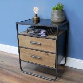 Modern Double Bedside Cabinet Created From Wood, Metal & Glass