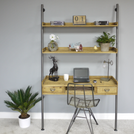Modern Wood & Iron Desk With Shelves in Situ