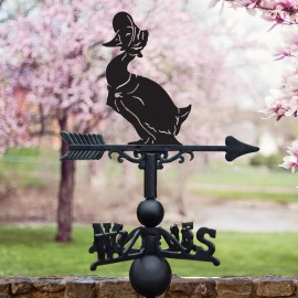 Mrs Duck Weathervane in Situ in Blossom Trees