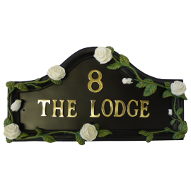 White Rose Hand Painted Double Sided House Name Sign