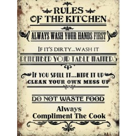 """""""Rules of the Kitchen"""" Metal Sign"""