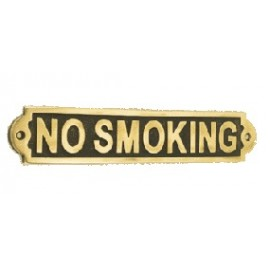 Solid brass No Smoking information sign