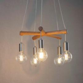 Oak & Satin Nickel Cluster Hanging Ceiling Light in Situ
