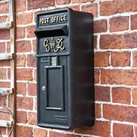 """Oakhampton"" Slim King George Post Box In Black"