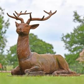 Rustic Elkin Cast Iron Stag Sculpture