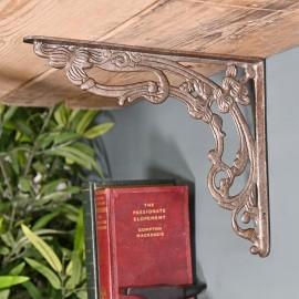Ornate  Scroll Design Cast Iron Victorian Amalina Wall Bracket in a Natural Finish