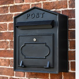 """All Black Painted Finish """"Osteler Oppulence"""" Mounted Post Box"""