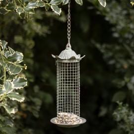 """Pagoda Tower"" Rustic Verdigris Hanging Chain Bird Feeder in Situ"
