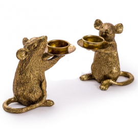 Pair of Mice Table Candle Holders in a Gold Finish