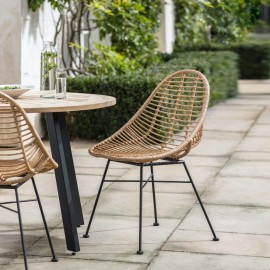 """Scooped Polyethylene """"Bamboo"""" Dining Chairs in Situ"""