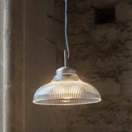 """Paris"" Retro Ribbed Glass Hanging Ceiling Light in Situ"