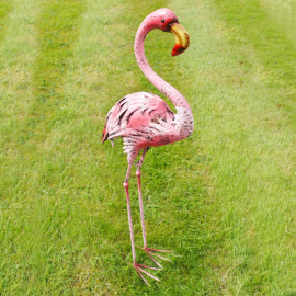 Metal Pink Flamingo Sculpture