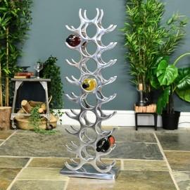 Polished Aluminium Contemporary Floor Standing Wine Rack Holding Wine Bottles