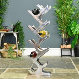 """Polished Aluminum """"Art Deco"""" 11 Bottle Wine Holder in Situ in the Home"""