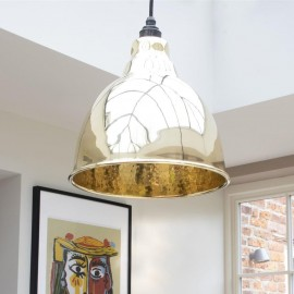 Polished Brass Bowl-Shaped Hanging Pendant Light with Hammered Brass Interior Close Up