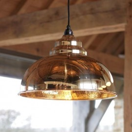 Polished Brass Curved Hanging Pendant Light with Hammered Brass Interior