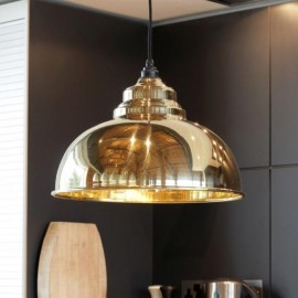 Polished Brass Curved Hanging Pendant Light with Smooth Brass Interior