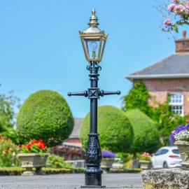 Miniature Polished Brass Victorian Lam Post in Situ on a Drive Way