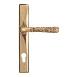 Polished Copper Hammered Slimline Lever Door Handle Front