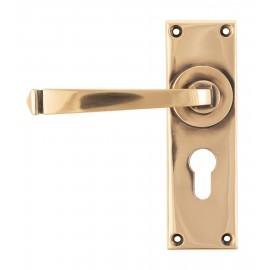 Polished Copper Lever Euro Door Handle