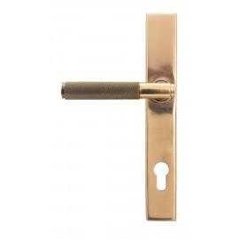 Polished Copper Slimline Espag Lever Door Handle Front