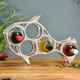Polished Nickel Fish Wine Rack in situ