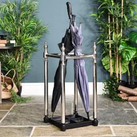 Polished Nickel Period Umbrella and Walking Stick Stand in Situ