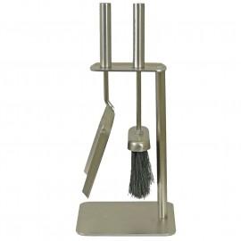 Polished Pewter Freestanding Brush and Pan Set