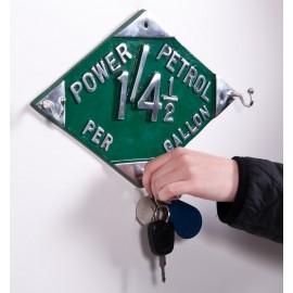 """""""Power Petrol"""" aluminium key and hook rack"""
