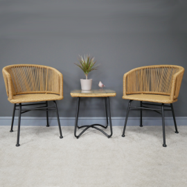 Two Seat Table and Chair Set Finished in Metal & Rattan