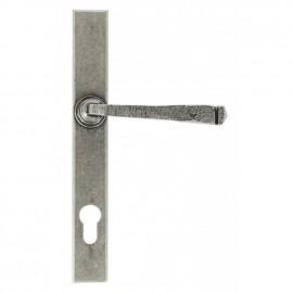 Sprung Slimline Lever Espagnolette Lock Set Pewter Exterior