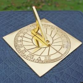 "Polished Brass Rising Sun"" Sundial in Situ"