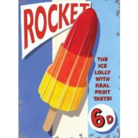 Rocket Lolly Metal Sign