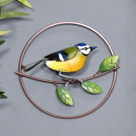 Round Blue Tit Wall Art in Situ on a Blue Wall