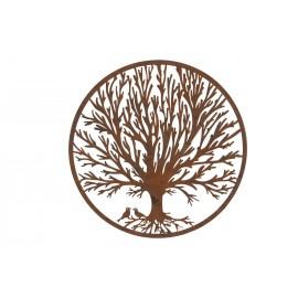 Round Winter Tree & Birds Rustic Wall Art