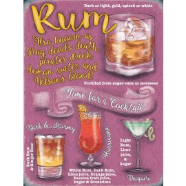 Make a Rum Cocktail Guide - Metal Sign
