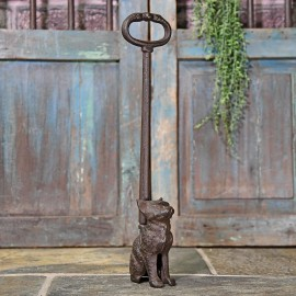 Cast Iron Cat Door Stop Finished in a Rustic Finish