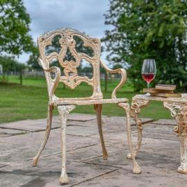Rustic Cream Cast Iron Victorian Chair in Situ