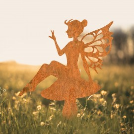 Flower Fairy Sitting on Toad Stool Silhouette in Use in a Field