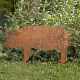 Rustic Hog Silhouette in Situ in the Garden