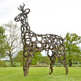 Rustic Horseshoes on the Roe Buck Stag Sculpture