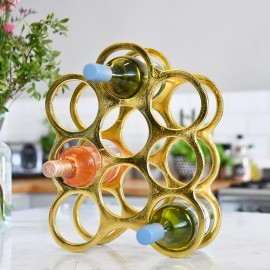 Gold 'Floating Bubbles' Wine Rack