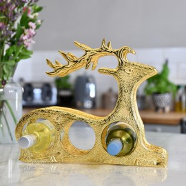 'Laying Stag' Wine Rack in Gold Finish