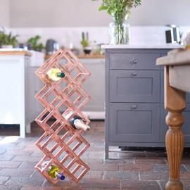 Copper 'Geometric Grid' Wine Rack in Kitchen