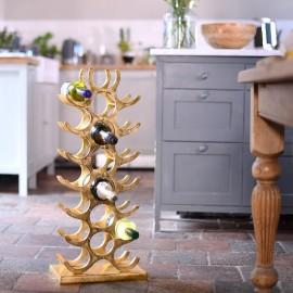 Gold 'Tree' 21 Bottle Wine Rack Floor Standing