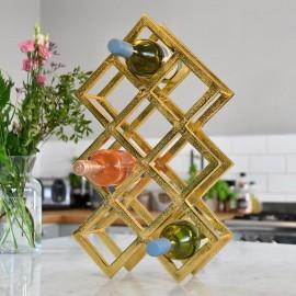 Gold Geometric Wine Rack in Kitchen Setting