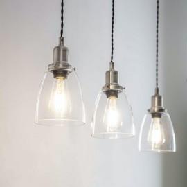 Satin Nickel Steel Trio Domed Cone Hanging Lights in Situ