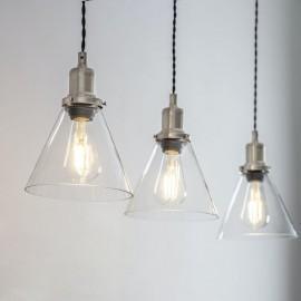 Satin Nickel Trio Cone Hanging Lights in Situ